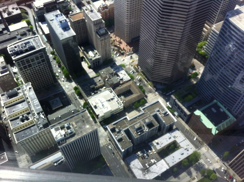 Birds-eye view of downtown Seattle