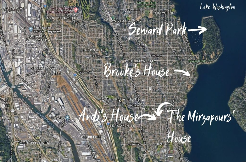 Map of South Seattle, including Seward Park, Brooke's house, Andi's house, and the Mirzapours' house
