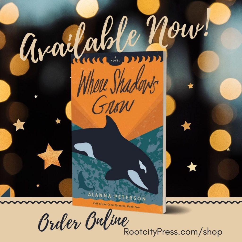 "3D cover of Where Shadows Grow against a starry background. Text reads, ""Available Now! Order online. RootcityPress.com/shop."""
