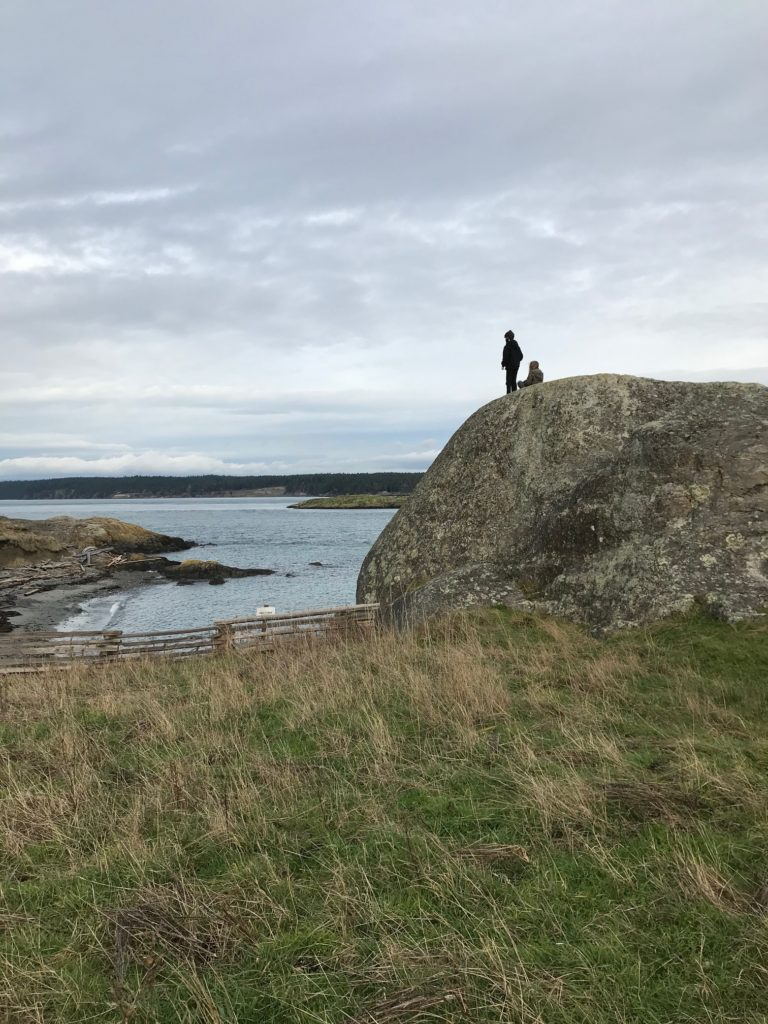 green grass in the foreground, with a large round rock in the middle ground with two silhouettes standing at the top. Beneath them, the sea, and above a cloudy grey sky.